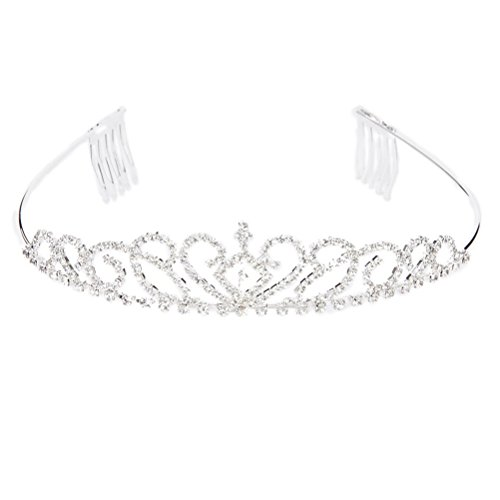 WINOMO Hochzeit Diademe Kristall Strass Tiara Haarreif mit Kamm (Silber)