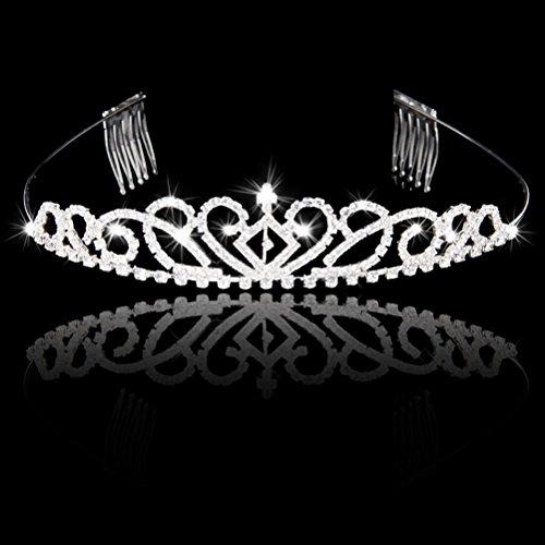 WINOMO Hochzeit Braut Diademe Kristall Strass Tiara Haarreif mit Kamm (Silber) -