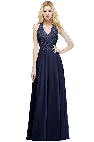 Elegantes langes Brautjungfernkleid mit Spitze, Navy