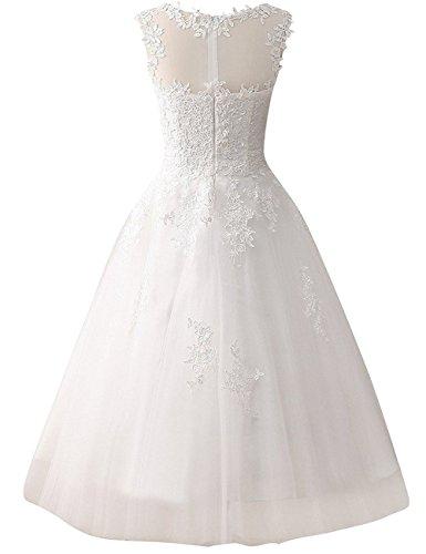 Brautkleid Hochzeitskleider A Linie Tüll Spitze Brautmode Damen Festkleider Wadenlang Elfenbein EUR56 - 2