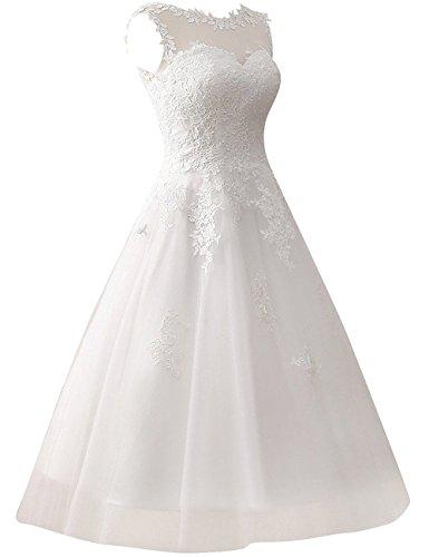 Brautkleid Hochzeitskleider A Linie Tüll Spitze Brautmode Damen Festkleider Wadenlang Elfenbein EUR56 - 3