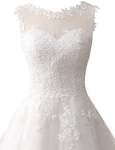 Brautkleid Hochzeitskleider A Linie Tüll Spitze Brautmode Damen Festkleider Wadenlang Elfenbein EUR56 - 4