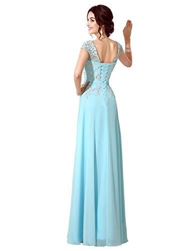 Clearbridal Damen Chiffon Lange Ballkleider Abschusskleider Abendkleider mit Applikation CSD181 Königsblau Gr.EU42 - 2