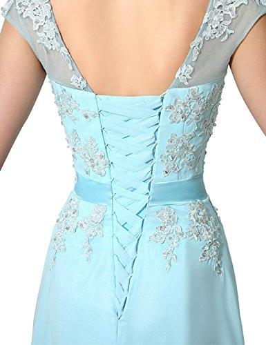 Clearbridal Damen Chiffon Lange Ballkleider Abschusskleider Abendkleider mit Applikation CSD181 Königsblau Gr.EU42 - 4