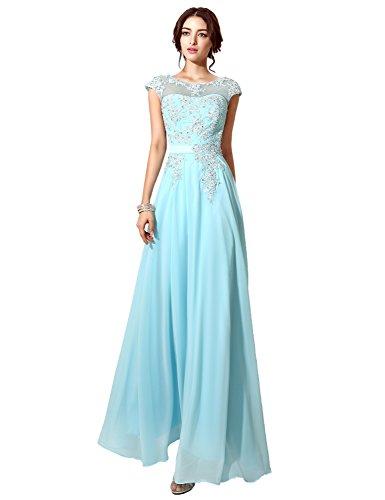 Clearbridal Damen Chiffon Lange Ballkleider Abschusskleider Abendkleider mit Applikation CSD181 Königsblau Gr.EU42 - 5