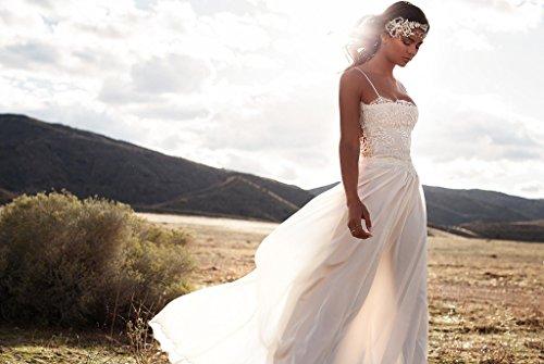 NUOJIA Illusion Zurück Chiffon Spitzen Boho Böhmischen Brautkleider Strand Lange hochzeitskleid mit Spaghetti Träger Elfenbein 32 - 3