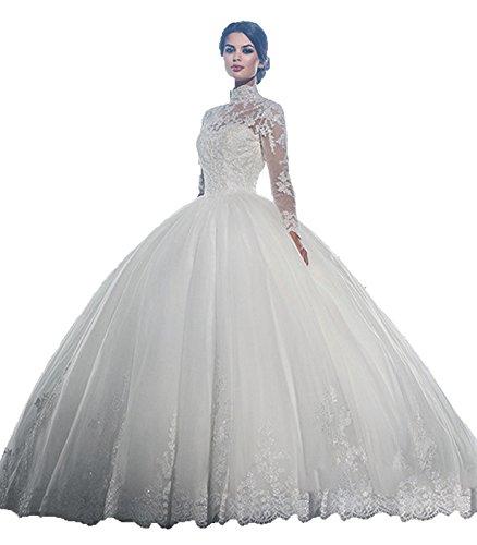 Hochzeitskleid Prinzessin, A Linie, Lange Ärmel, Spitze