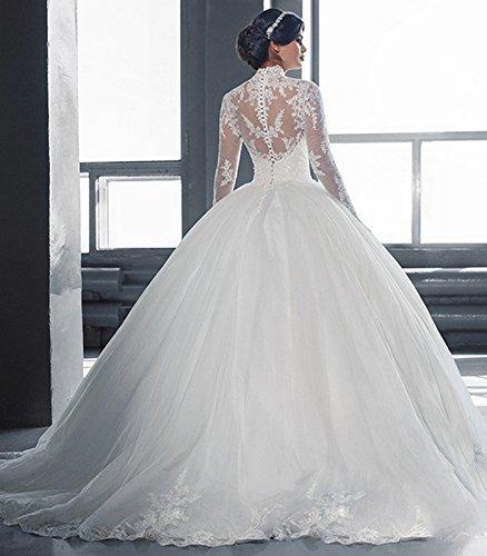 Mingxuerong 2018 Hochzeitskleider A Linie mit Lange Ärmel für Damen Spitze Von der Schulter Brautkleider mit Zug Elfenbein 40 - 2