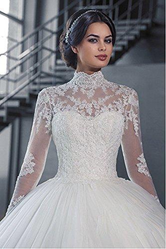 Mingxuerong 2018 Hochzeitskleider A Linie mit Lange Ärmel für Damen Spitze Von der Schulter Brautkleider mit Zug Elfenbein 40 - 3