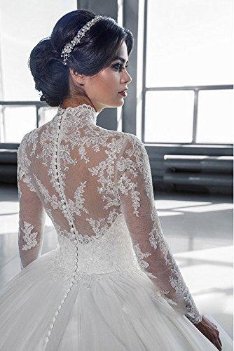 Mingxuerong 2018 Hochzeitskleider A Linie mit Lange Ärmel für Damen Spitze Von der Schulter Brautkleider mit Zug Elfenbein 40 - 7