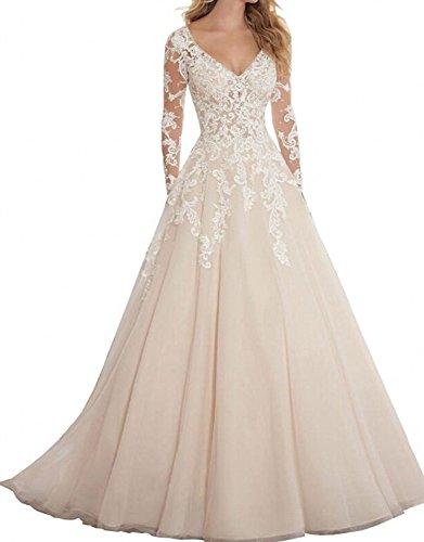 Hochzeitskleid, A Linie, Lange Ärmel, Elfenbein