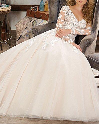 Mingxuerong 2018 Hochzeitskleider A Linie mit Lange Ärmel für Damen Spitze Von der Schulter Brautkleider mit Zug Elfenbein 36 - 3