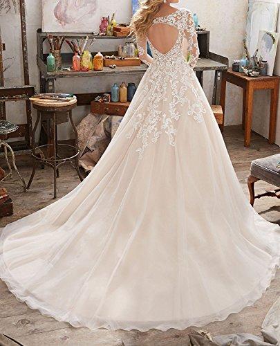 Mingxuerong 2018 Hochzeitskleider A Linie mit Lange Ärmel für Damen Spitze Von der Schulter Brautkleider mit Zug Elfenbein 36 - 4