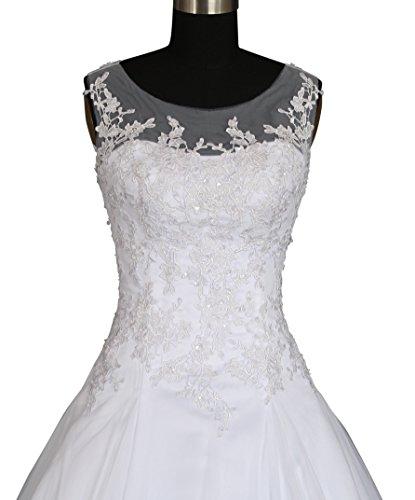 Romantic-Fashion Brautkleid Hochzeitskleid Weiß Modell W064 A-Linie Satin Stickerei Perlen Pailetten DE Größe 48 - 2