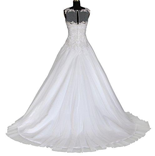 Romantic-Fashion Brautkleid Hochzeitskleid Weiß Modell W064 A-Linie Satin Stickerei Perlen Pailetten DE Größe 48 - 3