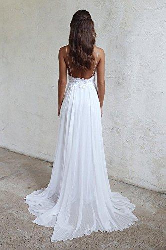 YASIOU Elegant Damen Brautkleid Lang Hochzeitskleider Spitze Chiffon Brautmode V-Ausschnitt Rückenfrei Weiß Vintage Spitze A Linie Große Größen - 2