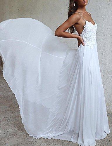 YASIOU Elegant Damen Brautkleid Lang Hochzeitskleider Spitze Chiffon Brautmode V-Ausschnitt Rückenfrei Weiß Vintage Spitze A Linie Große Größen - 6