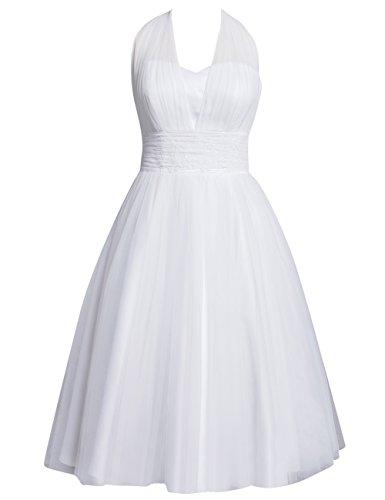 Kurzes Brautkleid mit Neckholder, Rückenfrei, Weiß