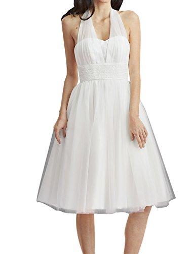 HUINI Brautkleid Damen Elegant Tülle Nackholder Hochzeitskleider Spitzenkleid Knielang Rückenfrei Ballkleid Maxikleid Abendkleid Weiß 56 - 2