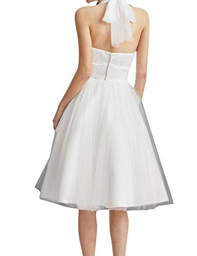 HUINI Brautkleid Damen Elegant Tülle Nackholder Hochzeitskleider Spitzenkleid Knielang Rückenfrei Ballkleid Maxikleid Abendkleid Weiß 56 - 3