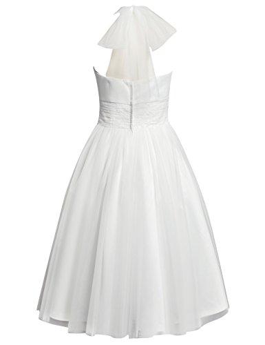HUINI Brautkleid Damen Elegant Tülle Nackholder Hochzeitskleider Spitzenkleid Knielang Rückenfrei Ballkleid Maxikleid Abendkleid Weiß 56 - 4