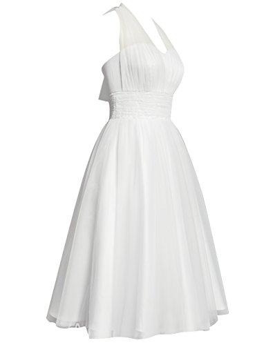 HUINI Brautkleid Damen Elegant Tülle Nackholder Hochzeitskleider Spitzenkleid Knielang Rückenfrei Ballkleid Maxikleid Abendkleid Weiß 56 - 5