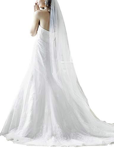 VKStar® Prinzessin Spitze Brautkleider Lang Herzenform Hochzeitskleider Brautmode Damen Festkleider Rückenfrei Brautkleid mit Schnürung Weiß 34 - 2