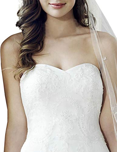 VKStar® Prinzessin Spitze Brautkleider Lang Herzenform Hochzeitskleider Brautmode Damen Festkleider Rückenfrei Brautkleid mit Schnürung Weiß 34 - 3