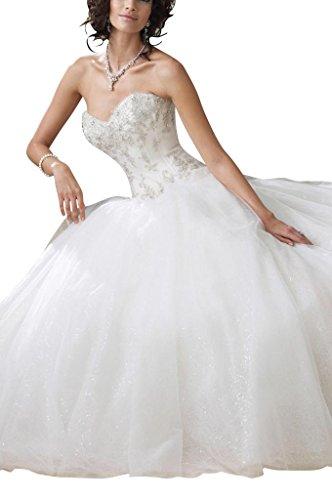 GEORGE BRIDE Garn A-Linie Prinzessin Brautkleider Hochzeitskleider, Groesse 42, Weiss - 2