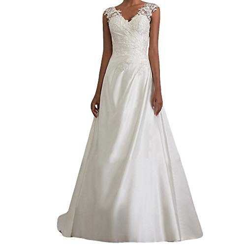 Riou Hochzeitskleider, Lang, Weiß, V-Ausschnitt