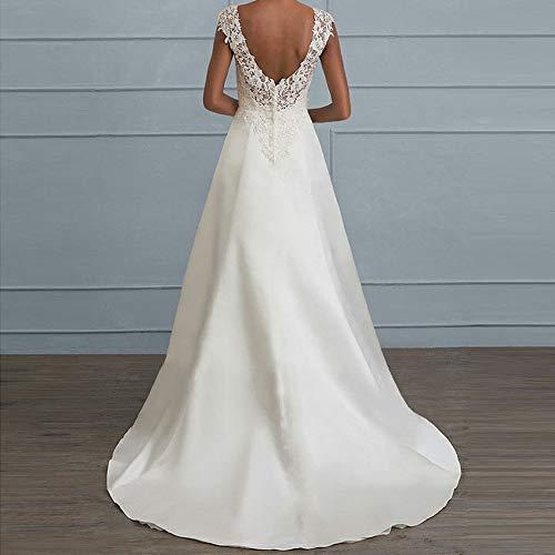 Riou Damen Brautkleider Hochzeitskleider Lang Weiß Sexy V-Ausschnitt Rückenfrei Spitzenkleid für Brautjungfer Hochzeit Abend Party Standesam Kleider - 2