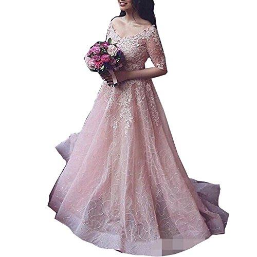 Tianshikeer Damen Hochzeitskleider Rosa, Lang