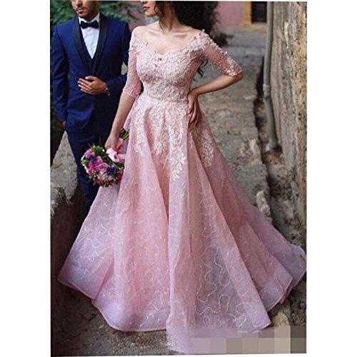 Tianshikeer Damen Hochzeitskleider Rosa Brautkleider Spitze Tüll Lang Elegante - 3