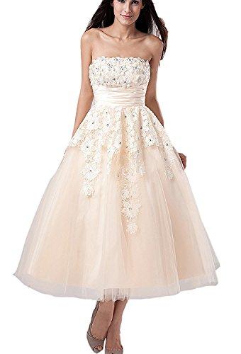 Tianshikeer Damen Hochzeitskleid mit Spitze, Kurz, Glitzer