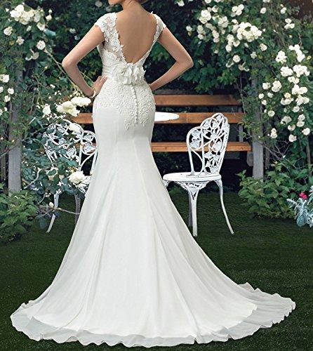 Tianshikeer Spitze Brautkleider Meerjungfrau Chiffon Lang Hochzeitskleider - 2