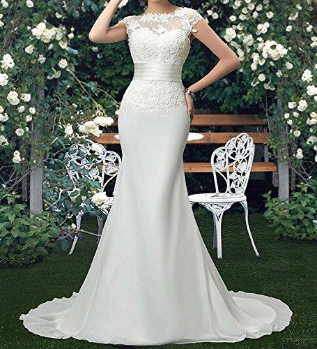 Tianshikeer Spitze Brautkleider Meerjungfrau Chiffon Lang Hochzeitskleider - 3