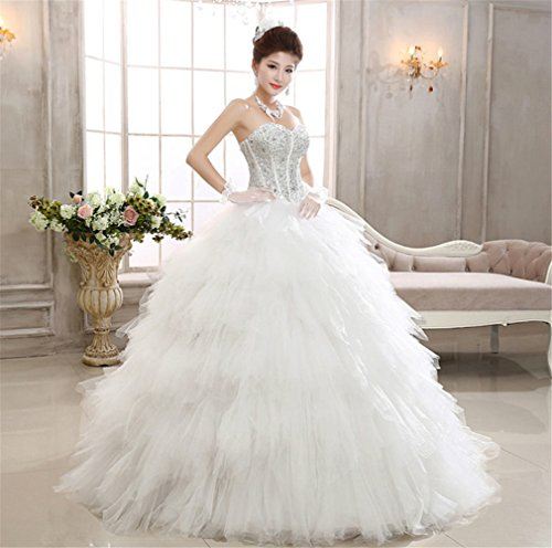 ELEGENCE-Z Hochzeitskleid, Ärmellose Tube Top Braut Qualität Spitze Diamant Dünne Feder Qi Prinzessin Brautkleid,L - 2