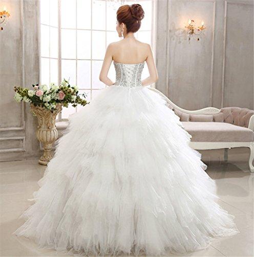 ELEGENCE-Z Hochzeitskleid, Ärmellose Tube Top Braut Qualität Spitze Diamant Dünne Feder Qi Prinzessin Brautkleid,L - 3