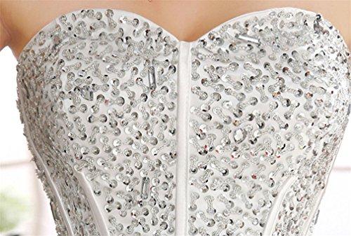 ELEGENCE-Z Hochzeitskleid, Ärmellose Tube Top Braut Qualität Spitze Diamant Dünne Feder Qi Prinzessin Brautkleid,L - 4
