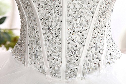 ELEGENCE-Z Hochzeitskleid, Ärmellose Tube Top Braut Qualität Spitze Diamant Dünne Feder Qi Prinzessin Brautkleid,L - 5