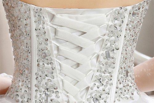 ELEGENCE-Z Hochzeitskleid, Ärmellose Tube Top Braut Qualität Spitze Diamant Dünne Feder Qi Prinzessin Brautkleid,L - 6