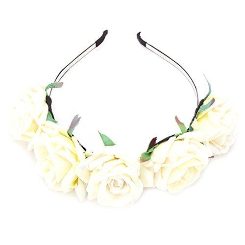 Blumenstirnband Rose Beige