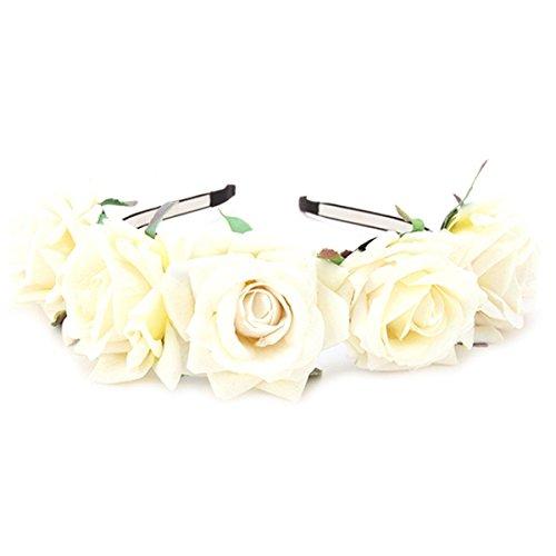 Damen Mädchen Rose Blume Haarreif Blumenstirnband Garland Festival Hochzeit Braut Brautjungfer Haarband Kopfband Kranz (Beige) -