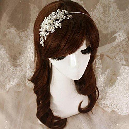 LI&HI Vintage Exklusive Custom Retro elegant Damen Süß Strass Perle Brauthaarband Haarbänder Stirnband Haarreif Haarschmuck Stirnschmuck Hochzeit Haar wrap -