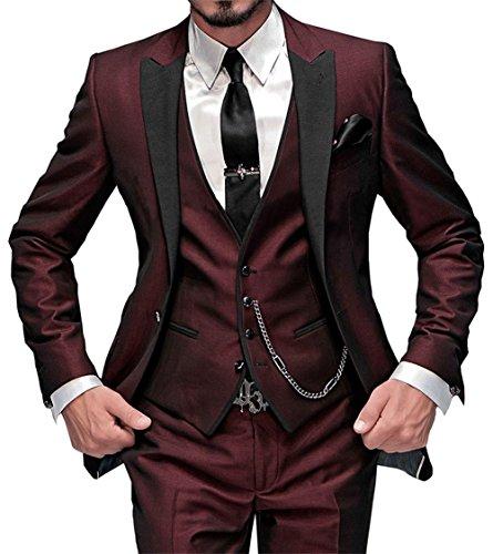 GEORGE BRIDE Herren Anzug 5-Teilig Anzug Sakko,Weste,Anzug Hose,Krawatte,Tasche Platz 002,Burgund XXL - 2