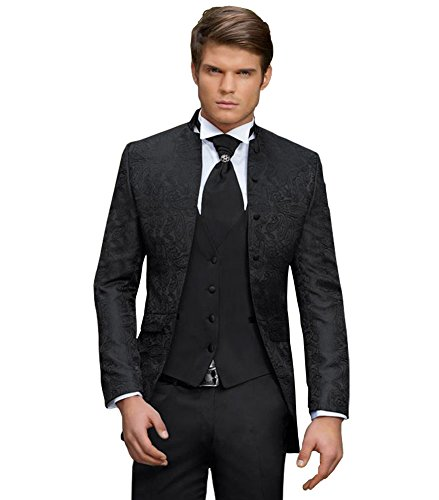Herren Anzug - 8 teilig - Schwarz Paisley, Hochzeitsanzug