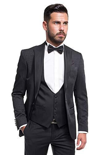 Bräutigam Anzug Vierteiler mit Musterung, Schwarz