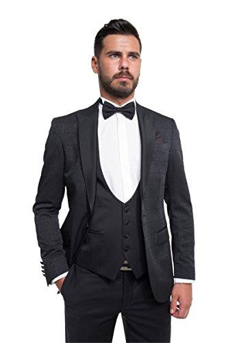 prestije.de Bräutigam Anzug Vierteiler mit Musterung, Farbe:Schwarz, Größe:54 - 3
