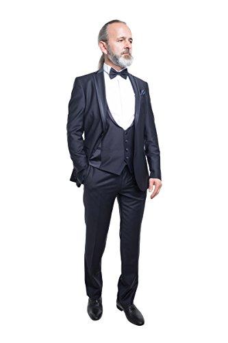 prestije.de Bräutigam Anzug Vierteiler mit eleganten Glanz, Farbe:Schwarz, Größe:58 - 2