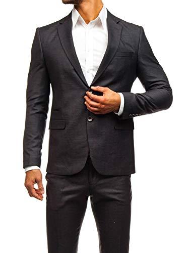 BOLF Herren 3-Teilig Anzug Sakko Anzughose Weste Elegant Classic Kariert Slim Fit BIBLOS 200K Weinrot L/52 [1J2] - 2